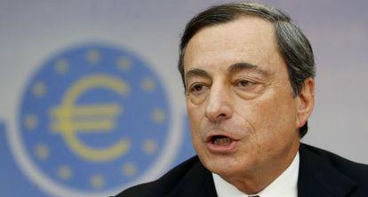 El presidente del BCE, Mario Draghi, este jueves en Fráncfort.