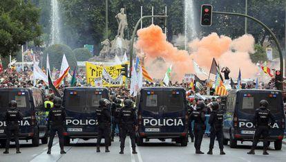 Protestas de los taxistas en Madrid el pasado mes de mayo.
