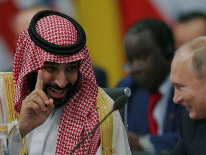 Foto: Bin Salmán bromea con Putin, este viernes en Buenos Aires. (Sergio Moraes / Reuters) /Vídeo: Reuters
