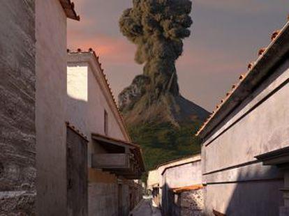 Reconstrucción digital de una calle de Pompeya durante la erupción