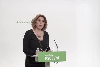 La secretaria general del PSOE de Andalucía, Susana Díaz, en una comparecencia.