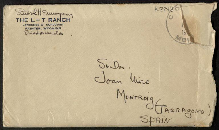 Sobre de una carta de Ernest Hemingway a Joan Miró.