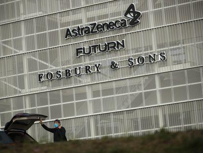 El edificio de AstraZeneca en Bruselas, este viernes.