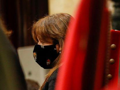 La presidenta del Parlament, Laura Borràs durante su intervención en la segunda jornada del debate de investidura.