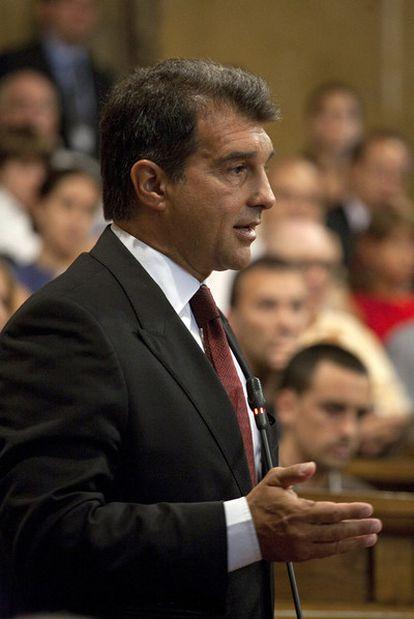 Joan Laporta, en el Parlamento catalán.