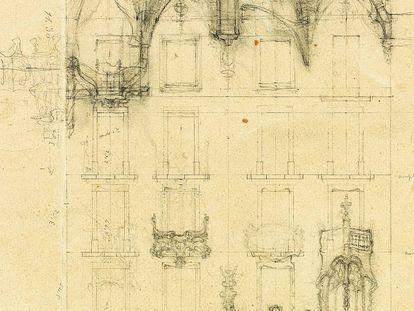 Dibujo original de Antoni Gaudí para el proyecto de la Casa Batlló de Barcelona. 1904