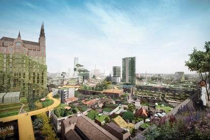 Vista del centro de Eindhoven. A la izquierda, una recreación de cómo se vería la basilíca de Santa Catalina si se llevara a cabo el proyecto que propone el estudio MVRDV.