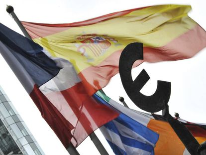 Banderas de diferentes países europeos en Bruselas.