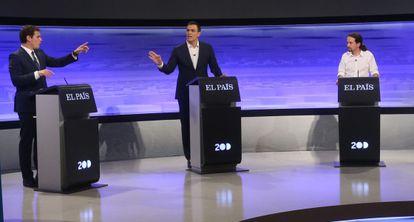 Rivera, Sanchez e Iglesias, en un momento del debate.