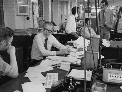 La redacción del periódico gratuito británico Evening Standard, preparando su edición vespertina del 21 de septiembre 1971