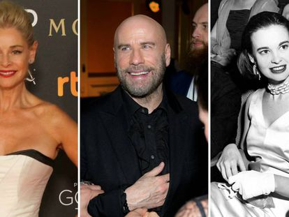 De izquierda a derecha: Belén Rueda, John Travolta y Gloria Vanderbilt.