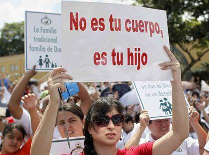La protesta en la principal avenida de San José .