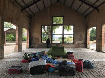 Zona en la que vive un grupo de mendigos frente al parque Tierno Galván, donde se produjo el asesinato