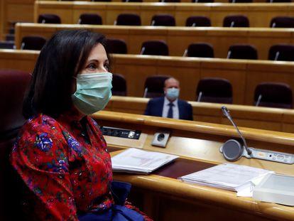La ministra de Defensa, Margarita Robles, durante su comparecencia de este viernes en el Senado.