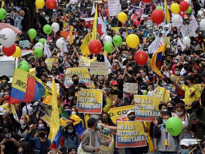 Marcha en Bogotá contra la reforma tributaria impulsada por el presidente de Colombia, Iván Duque, el pasado 28 de abril.