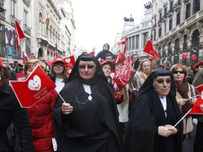 Manifestación contra la ley del aborto en 2010.
