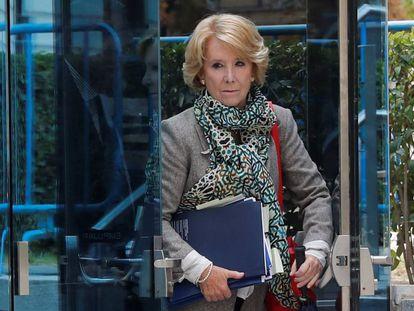 Esperanza Aguirre tras declarar el pasado 18 de octubre en la Audiencia Nacional.