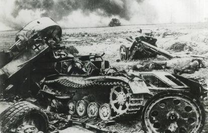 Blindados alemanes destruidos en Stalingrado.