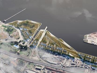 Imagen del proyecto arquitectónico ganador del concurso público para Costa Salguero, en Buenos Aires, frente al río.