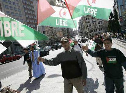 Manifestación en apoyo de la independencia del Sáhara la semana pasada en Madrid.