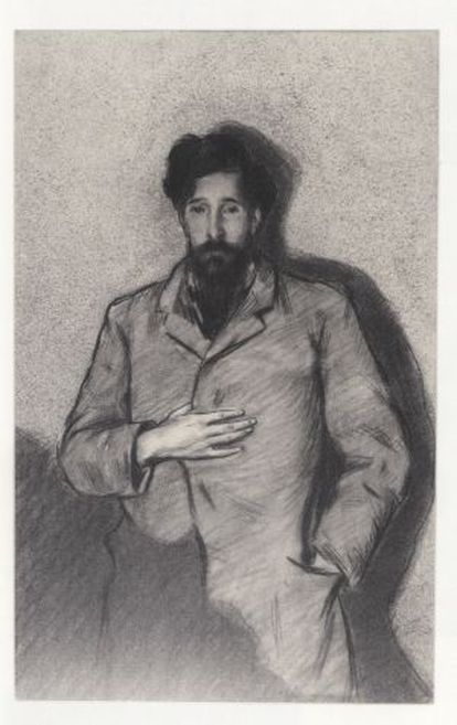 'Retrato de Santiago Rusiñol' realizado por Pichot como 'El caballero de la mano en el pecho' de El Greco.