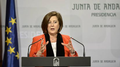 La consejera de Igualdad, María José Sánchez Rubio, este miércoles Sevilla.