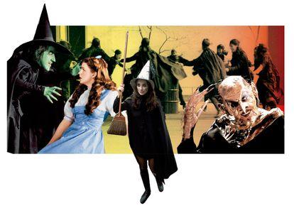 Dorothy, impresionada por la Malvada Bruja del Oeste en 'El mago de Oz'; una activista en una manifestación feminista en Chicago en 2010, y Anjelica Huston sin máscara en la primera versión de 'La maldición de las brujas'.