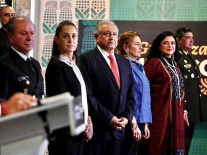 López Obrador durante la inauguración de la exposición 'La Grandeza de México', en el Museo Nacional de Antropología.