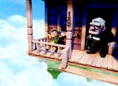 Un fotograma de la última película de Pixar, <i>Up, </i>con la pareja protagonista, el niño Russell y el jubilado Carl Fredricksen.