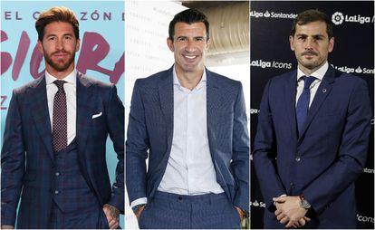 De izquierda a derecha, Sergio Ramos, Luis Figo e Iker Casillas.
