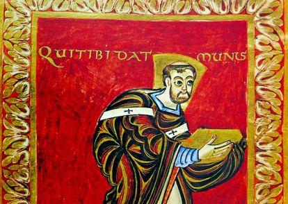 Salmo titulado 'El monje Ruodprecht presentando su trabajo'.