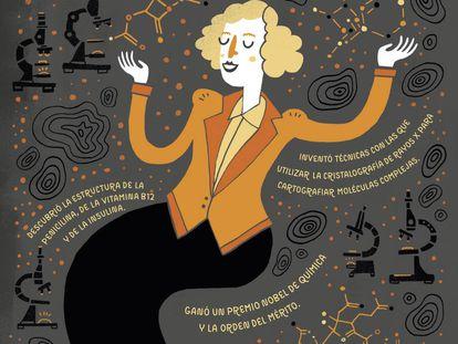 Una ilustración del libro, con la química Dorothy Hodgkin.
