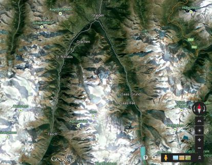 Imagen de Google Maps en la que el pico San Nicolás de Suiza, entre otros, parece una depresión.