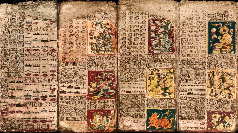 Una imagen del Códice Maya de Dresde, que se encuentra en Alemania.