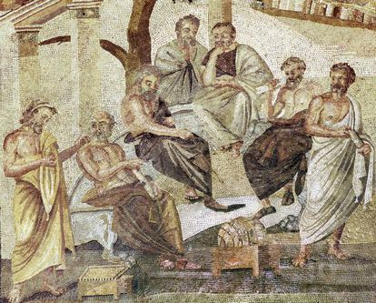 'La Academia de Platón'. Mosaico pompeyano (110-80 antes de Cristo) en la colección del Museo Arqueológico de Nápoles.
