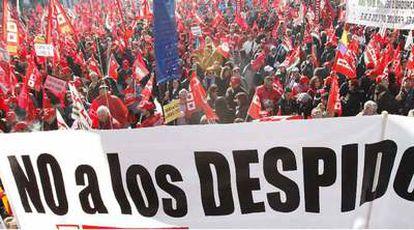 Una de las pancartas de la manifestación.