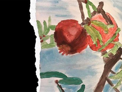 Montaje gráfico sobre una pintura de paisaje natural agrícola de la alumna de 3º de Primaria: