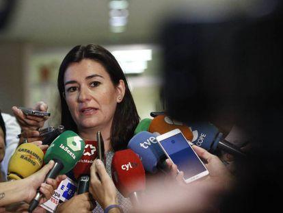 La ministra de Sanidad, Carmen Montón, en declaraciones el miércoles.