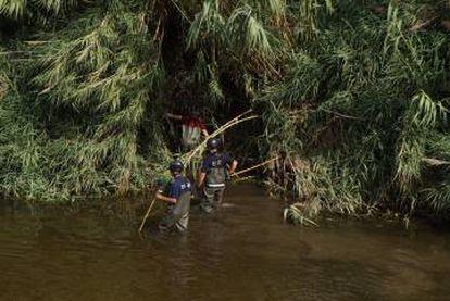 Tres agentes buscan al bebé en el río.