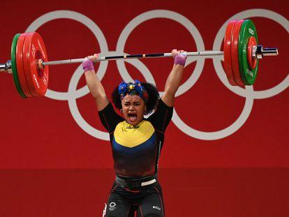 Neisi Dajomes, el pasado domingo antes de ganar la medalla de oro.