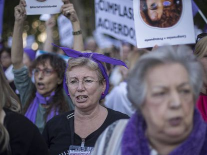 Manifestación en Madrid contra la falta de presupuesto para el Pacto contra la Violencia de Género, el pasado 16 de mayo.
