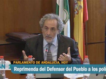 Vídeo de Canal Sur con la reprimenda de Chamizo a los políticos en el Parlamento andaluz.