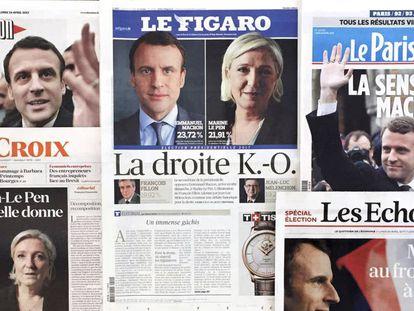 Portadas de varios periódicos franceses el día después de la jornada electoral.