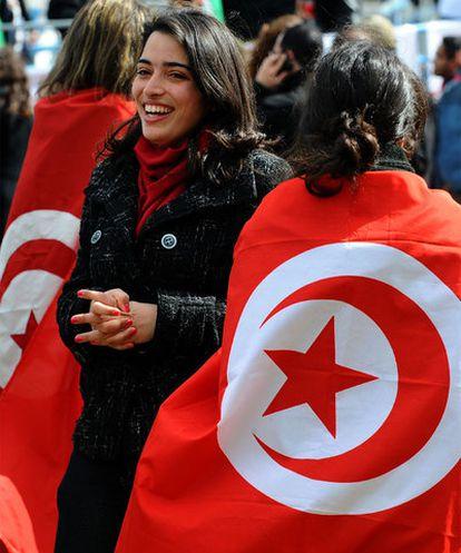Mujeres tunecinas en una manifestación el 5 de marzo en la capital.