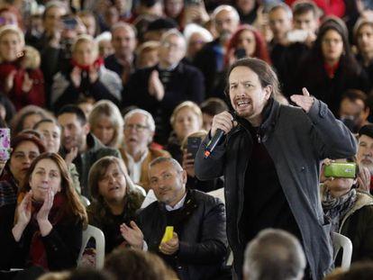 El secretario general de Podemos, Pablo Iglesias, este viernes en un acto del partido en Gijón.