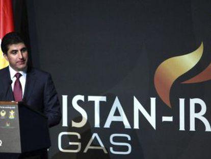 El primer ministro del Gobierno regional kurdo, Nechirvan Barzani, el lunes en la Conferencia del petróleo Kurdistán-Irak, en Erbil.
