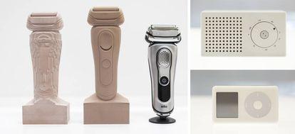 A la izquierda, evolución del prototipo de una afeitadora. A  la derecha, un iPod y la radio T3 en la que se inspiró Apple.