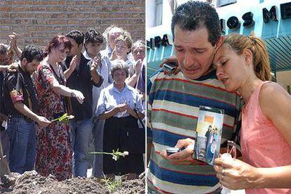 A la izquierda, familiares arrojan flores en la tumba de una  de las víctimas. A la derecha, una pareja muestra una foto en busca de información.