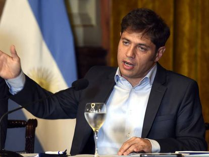 El gobernador de Buenos Aires, Axel Kicillof, durante una rueda de prensa celebrada en enero.