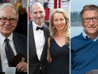 De izquierda a derecha: Warren Buffett, Steve y Lauren Jobs y Bill Gates.